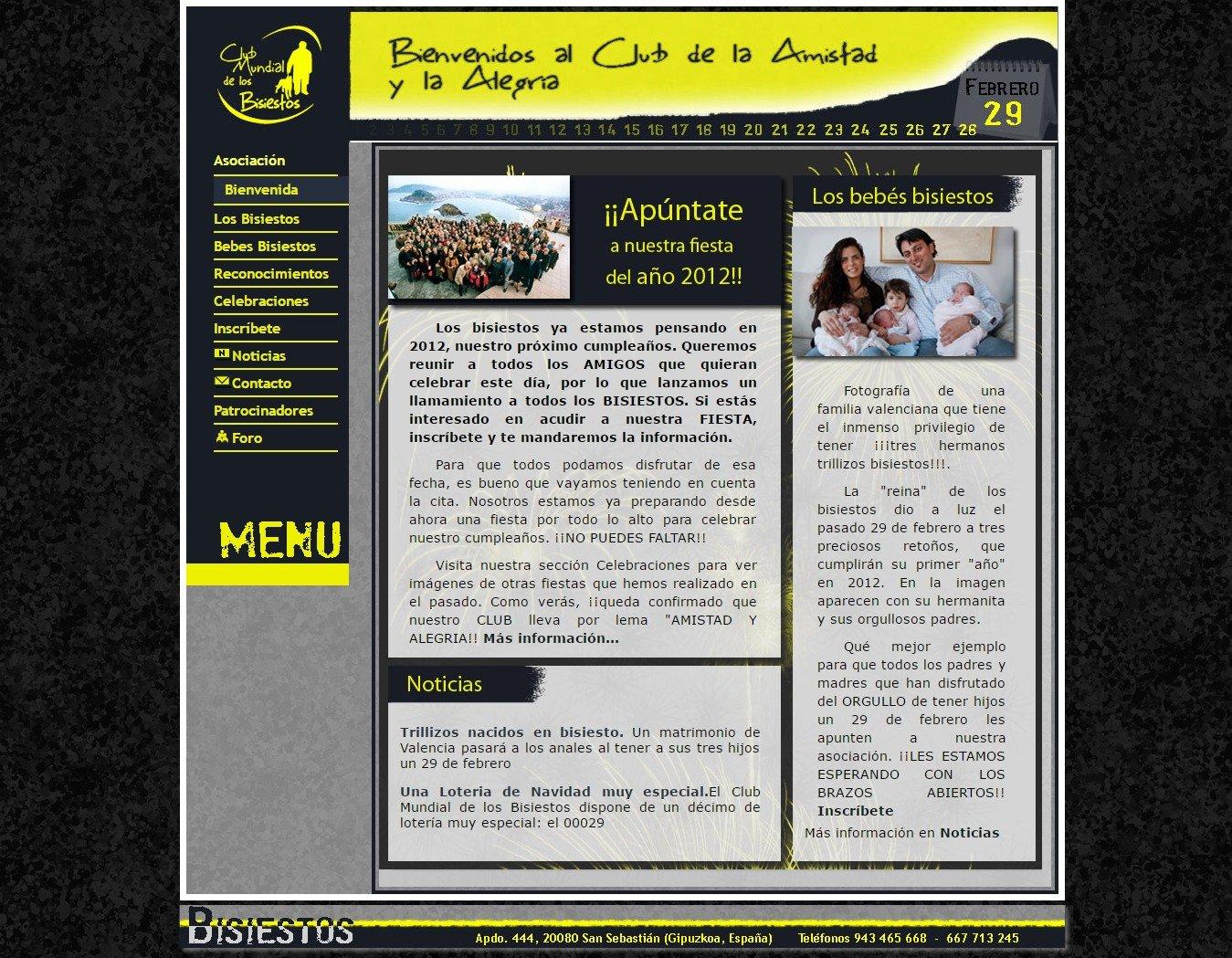 Diseño de página web Club de los Bisiestos