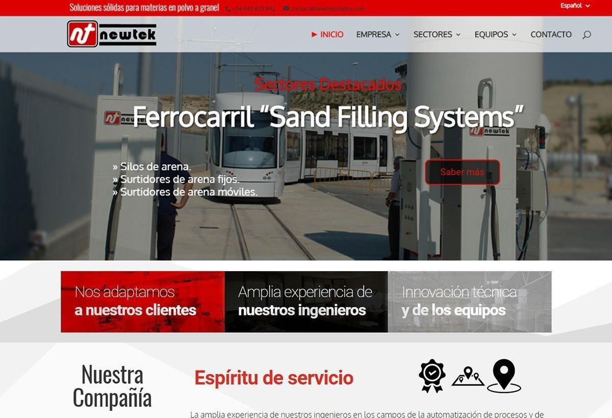 Diseño Web Newtek Soluciones sólidas para materias en polvo a granel